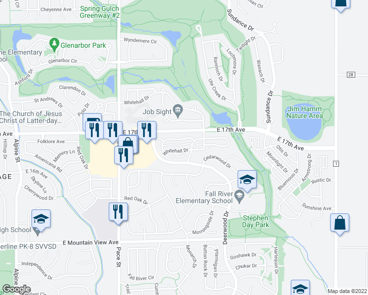 map of restaurants, bars, coffee shops, grocery stores, and more near 1514 Whitehall Drive in Longmont