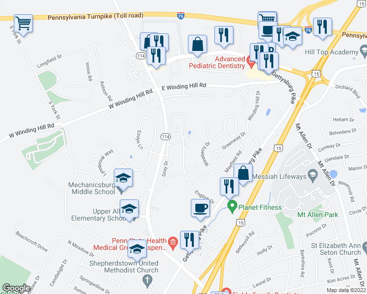 map of restaurants, bars, coffee shops, grocery stores, and more near 1557-1583 English Drive in Mechanicsburg