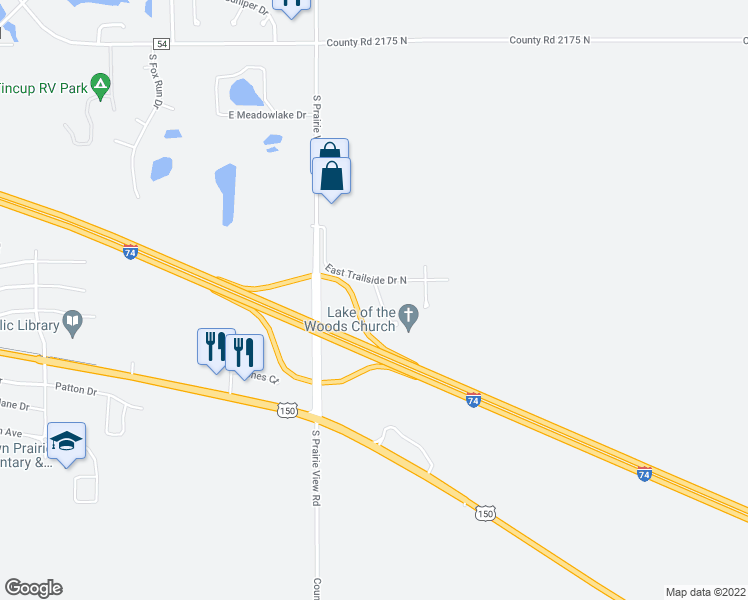 map of restaurants, bars, coffee shops, grocery stores, and more near 903 South Trailside Drive in Mahomet