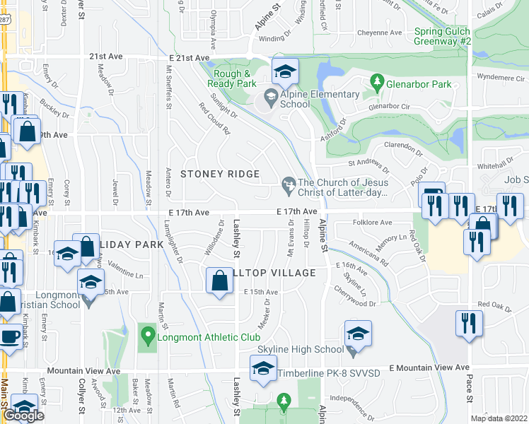 map of restaurants, bars, coffee shops, grocery stores, and more near 815 E 17th Ave in Longmont