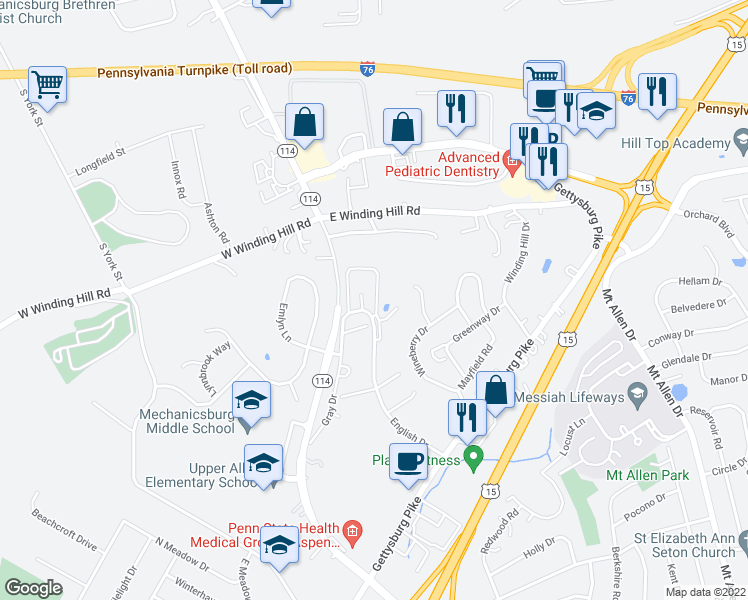 map of restaurants, bars, coffee shops, grocery stores, and more near 1515 English Drive in Mechanicsburg