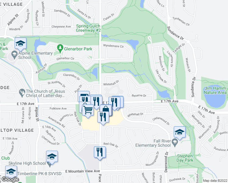 map of restaurants, bars, coffee shops, grocery stores, and more near Signature Circle in Longmont