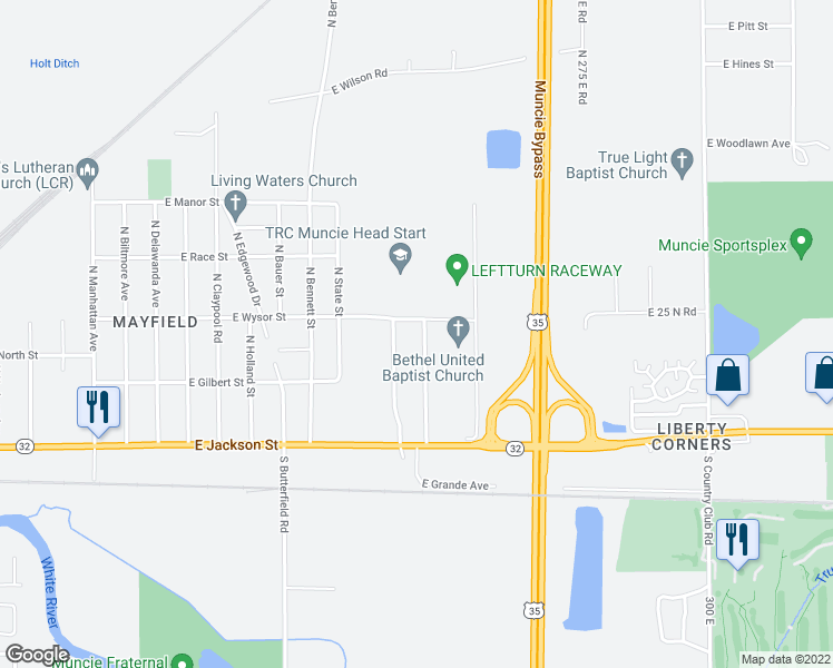 map of restaurants, bars, coffee shops, grocery stores, and more near 309 North Grande Avenue in Muncie