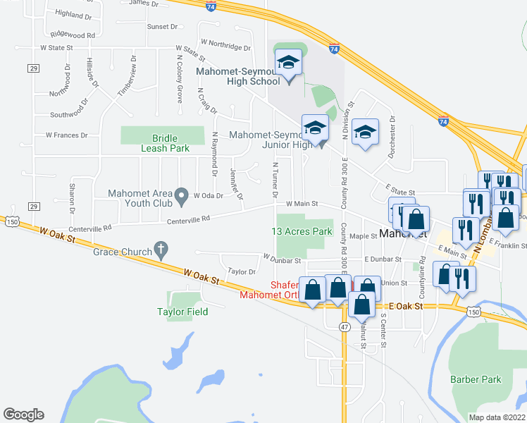 map of restaurants, bars, coffee shops, grocery stores, and more near 401 West Main Street in Mahomet