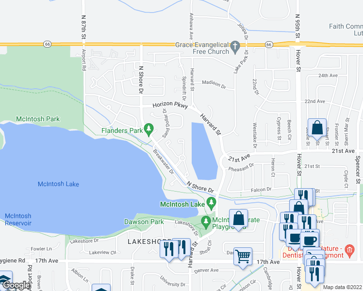 map of restaurants, bars, coffee shops, grocery stores, and more near 2979 Dunes Court in Longmont