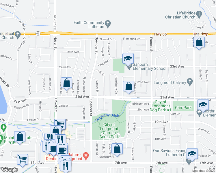 map of restaurants, bars, coffee shops, grocery stores, and more near 2175 Hackberry Circle in Longmont