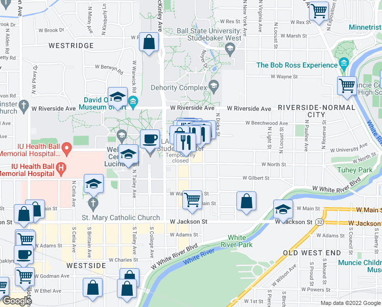 map of restaurants, bars, coffee shops, grocery stores, and more near 1623 West University Avenue in Muncie