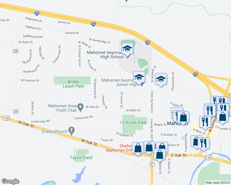 map of restaurants, bars, coffee shops, grocery stores, and more near 401 West Jennifer Court in Mahomet