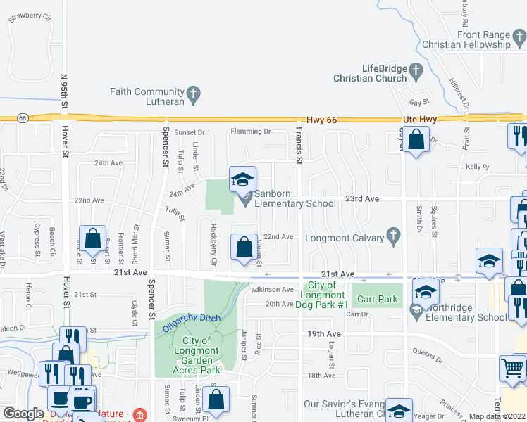 map of restaurants, bars, coffee shops, grocery stores, and more near 2232 Vivian Street in Longmont