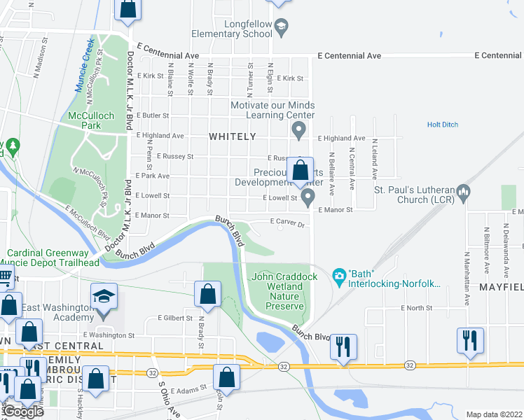 map of restaurants, bars, coffee shops, grocery stores, and more near 801 North Elgin Street in Muncie