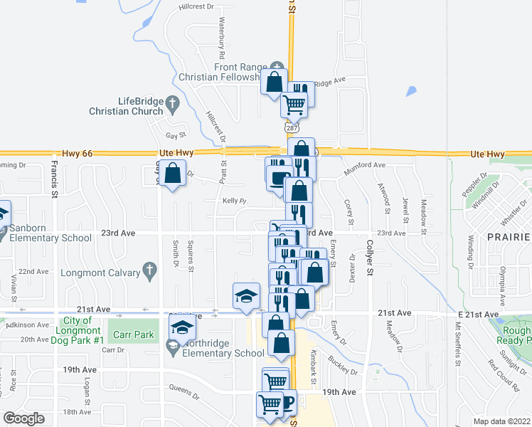 map of restaurants, bars, coffee shops, grocery stores, and more near in Longmont