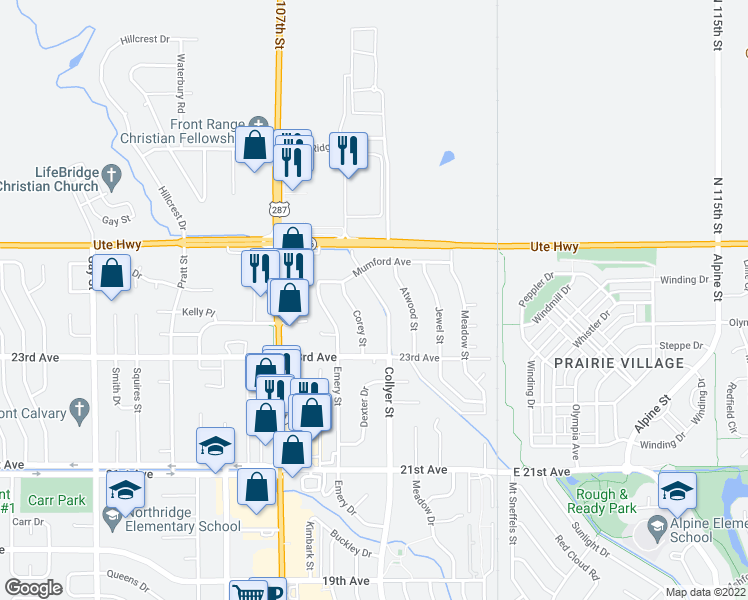 map of restaurants, bars, coffee shops, grocery stores, and more near 2417 Collyer Street in Longmont