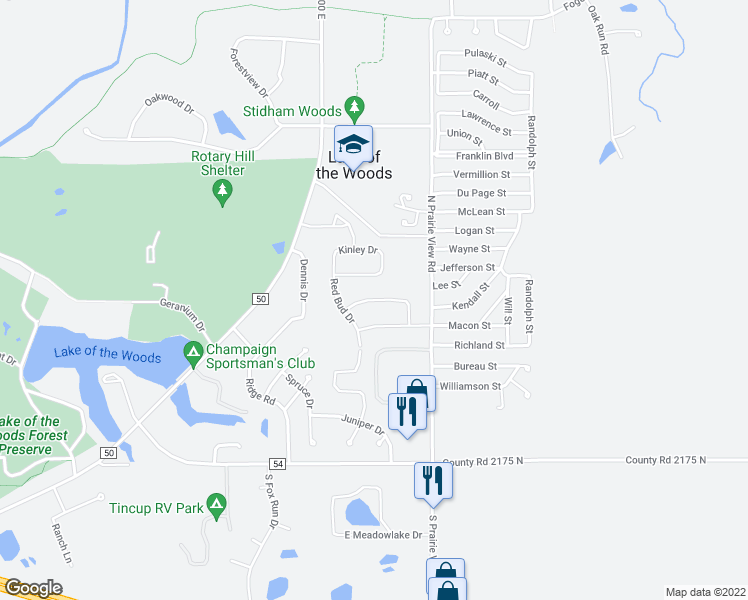 map of restaurants, bars, coffee shops, grocery stores, and more near Prairie Grass Lane in Mahomet