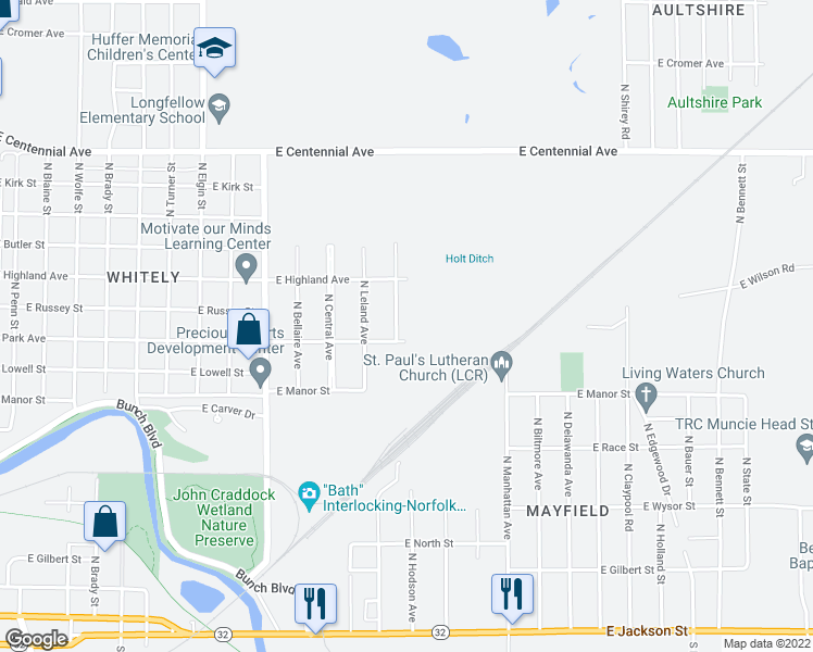 map of restaurants, bars, coffee shops, grocery stores, and more near 1004 North Hodson Avenue in Muncie