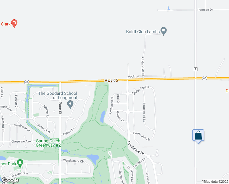 map of restaurants, bars, coffee shops, grocery stores, and more near 2416 Tyrrhenian Drive in Longmont