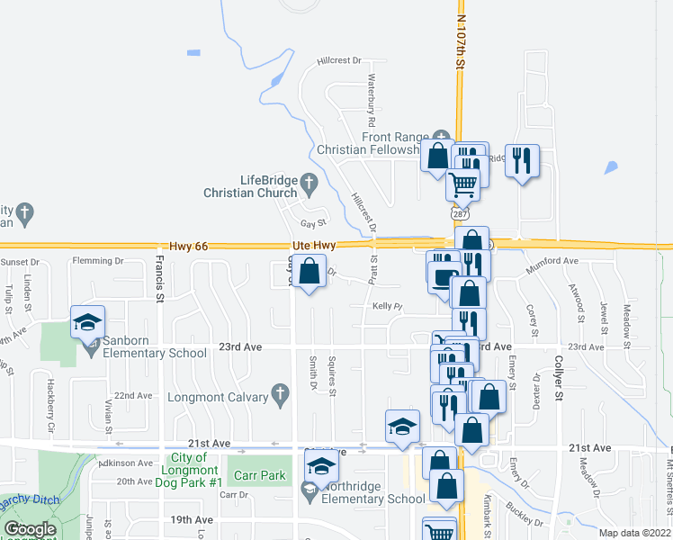 map of restaurants, bars, coffee shops, grocery stores, and more near 2436 Scott Court in Longmont