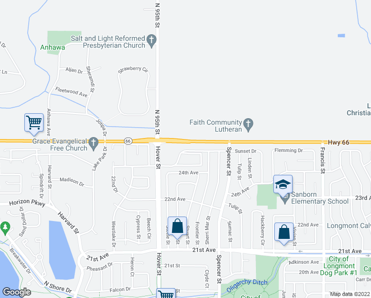 map of restaurants, bars, coffee shops, grocery stores, and more near 9516-9578 Ute Highway in Longmont