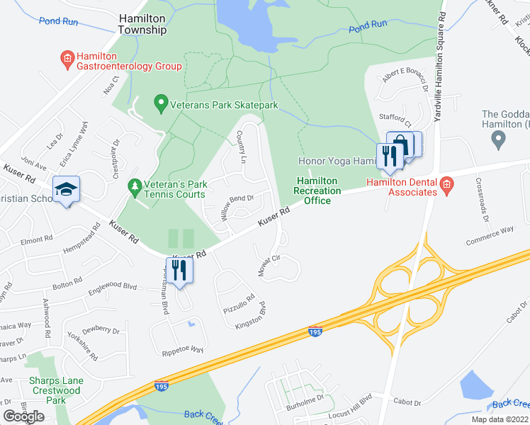 map of restaurants, bars, coffee shops, grocery stores, and more near 90 Pinewood Drive in Trenton