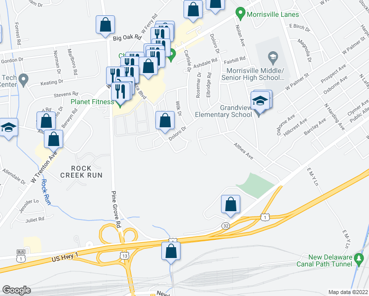 map of restaurants, bars, coffee shops, grocery stores, and more near 387 Plaza Boulevard in Morrisville