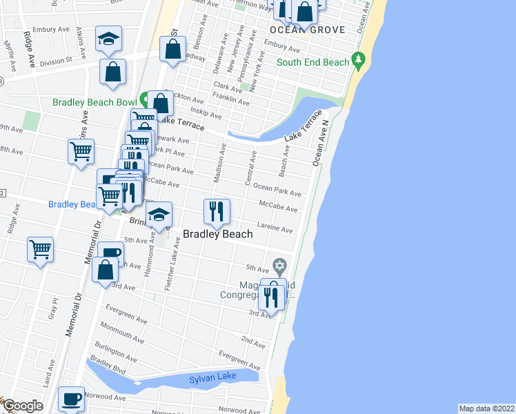 map of restaurants, bars, coffee shops, grocery stores, and more near 215 McCabe Avenue in Bradley Beach