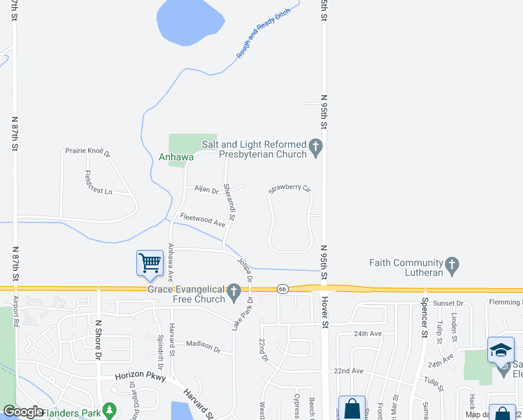 map of restaurants, bars, coffee shops, grocery stores, and more near 12749 Strawberry Circle in Longmont