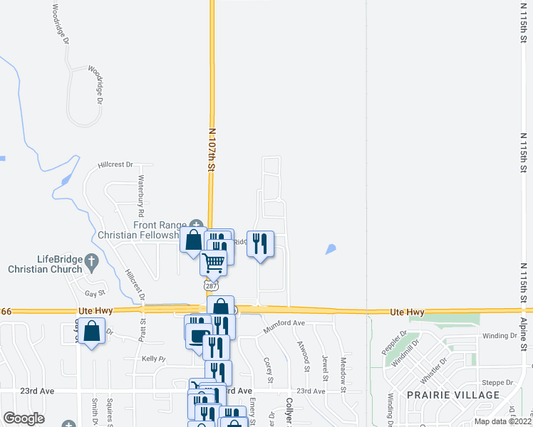 map of restaurants, bars, coffee shops, grocery stores, and more near 2770 Copper Peak Lane in Longmont