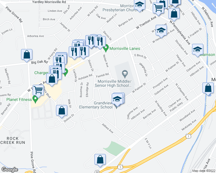 map of restaurants, bars, coffee shops, grocery stores, and more near 612 Dorset Drive in Morrisville