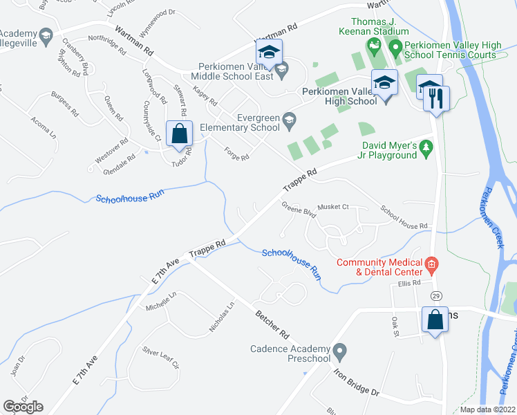 map of restaurants, bars, coffee shops, grocery stores, and more near 200 Commons Lane in Collegeville
