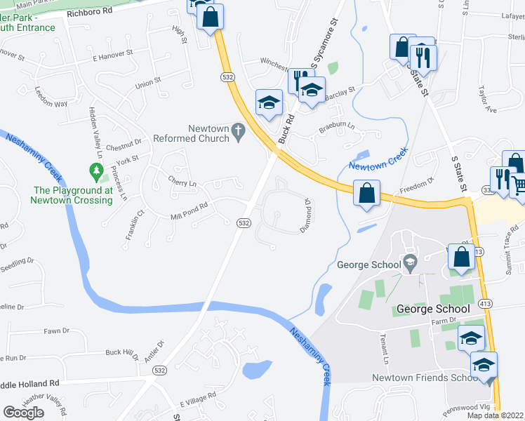 map of restaurants, bars, coffee shops, grocery stores, and more near 1677 Diamond Drive in Newtown