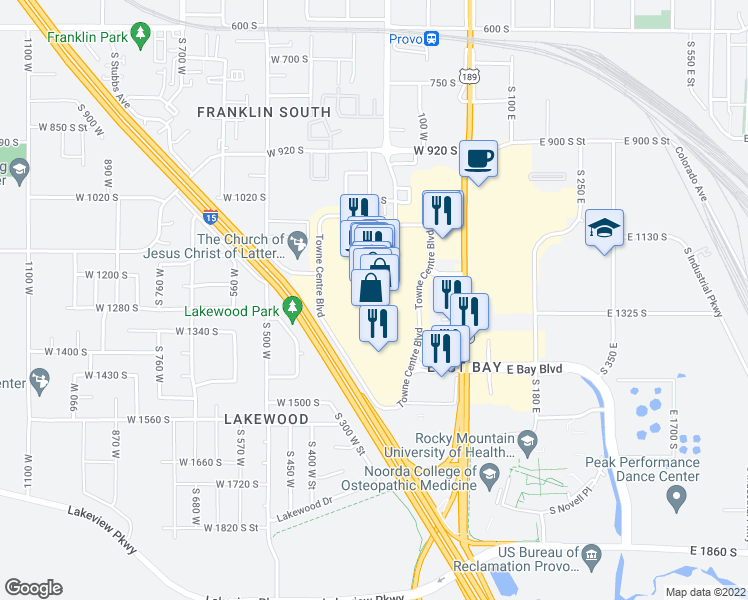 map of restaurants, bars, coffee shops, grocery stores, and more near 1200 Towne Centre Boulevard in Provo