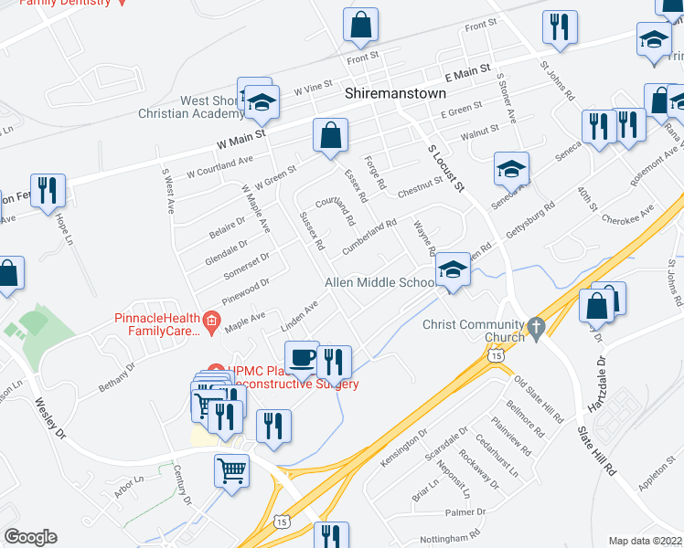 map of restaurants, bars, coffee shops, grocery stores, and more near 24 Walnut Lane in Camp Hill