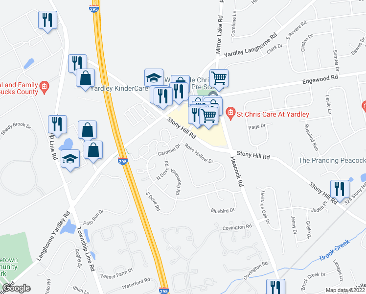 map of restaurants, bars, coffee shops, grocery stores, and more near 601A Rose Hollow Drive in Morrisville