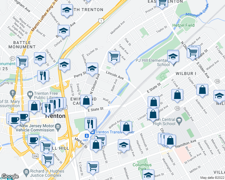map of restaurants, bars, coffee shops, grocery stores, and more near Model Avenue in Trenton
