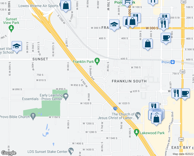 map of restaurants, bars, coffee shops, grocery stores, and more near 803 West Heather Lane in Provo