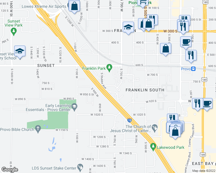 map of restaurants, bars, coffee shops, grocery stores, and more near 807 West Heather Lane in Provo