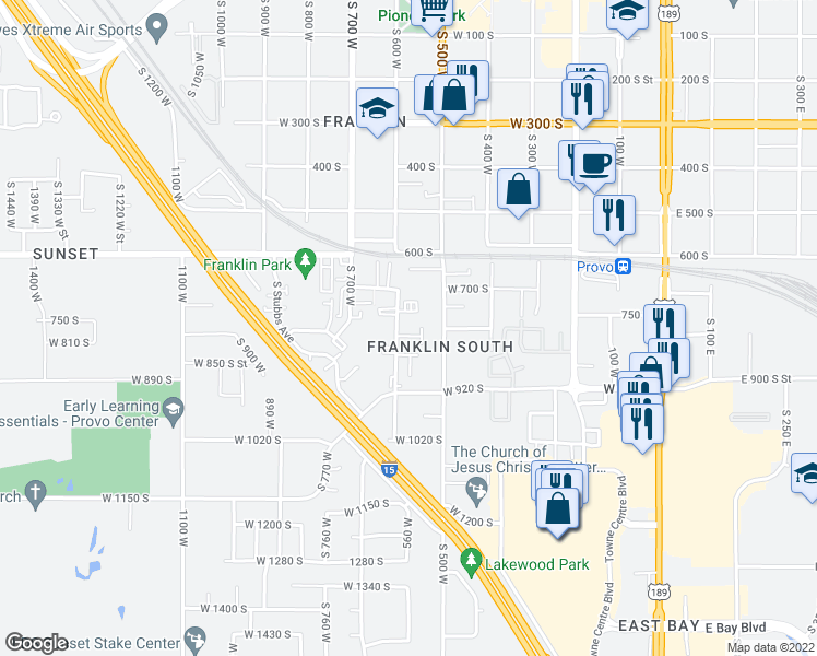 map of restaurants, bars, coffee shops, grocery stores, and more near 750 South 650 West in Provo
