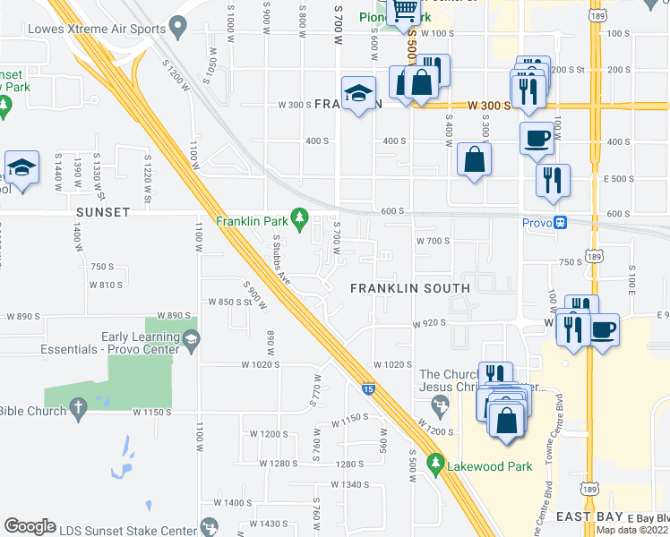 map of restaurants, bars, coffee shops, grocery stores, and more near 754 South 650 West Street in Provo