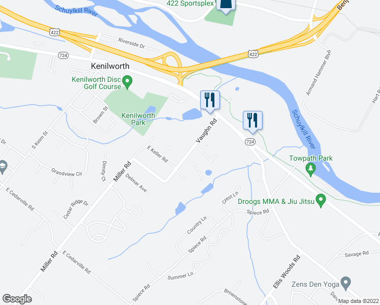 map of restaurants, bars, coffee shops, grocery stores, and more near 820 Vaughn Road in Pottstown