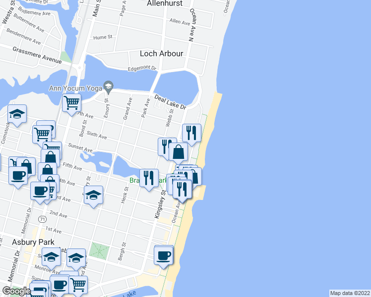 map of restaurants, bars, coffee shops, grocery stores, and more near 1501 Ocean Avenue in Asbury Park