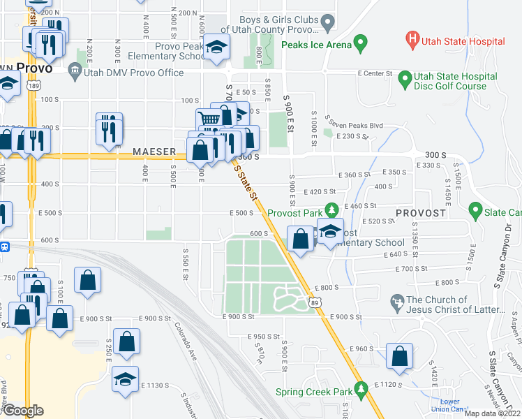 map of restaurants, bars, coffee shops, grocery stores, and more near 788 East 500 South in Provo