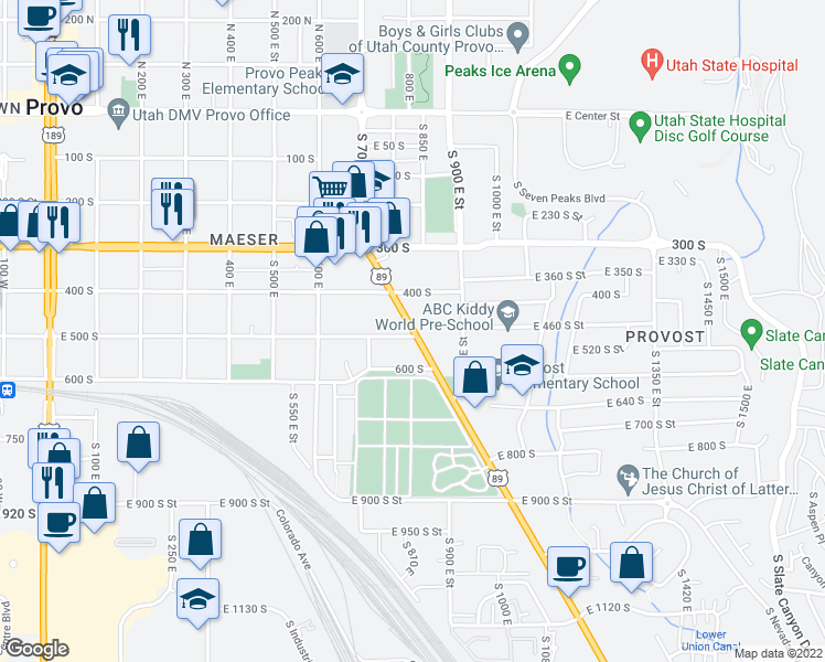 map of restaurants, bars, coffee shops, grocery stores, and more near 744-748 East 500 South in Provo