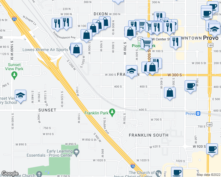 map of restaurants, bars, coffee shops, grocery stores, and more near 815 West 400 South in Provo