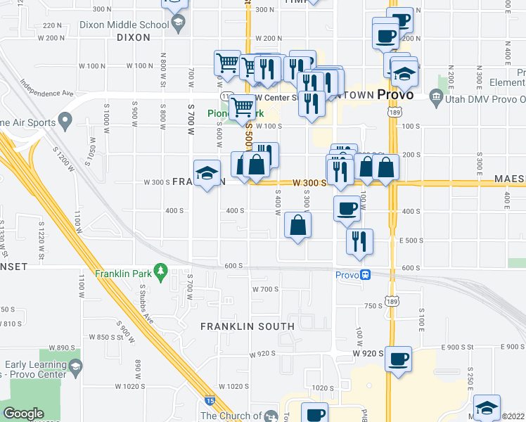 map of restaurants, bars, coffee shops, grocery stores, and more near 456 400 South in Provo