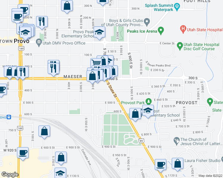 map of restaurants, bars, coffee shops, grocery stores, and more near 1073 400 South in Provo