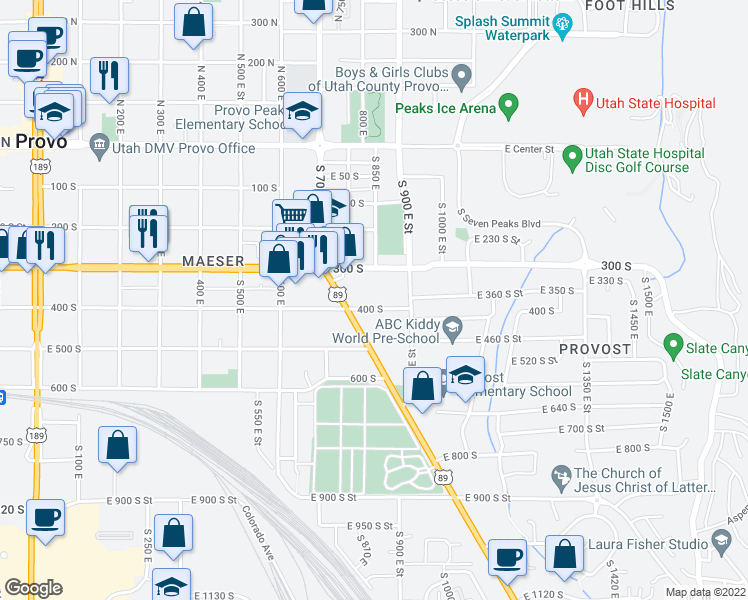 map of restaurants, bars, coffee shops, grocery stores, and more near 397 South State Street in Provo
