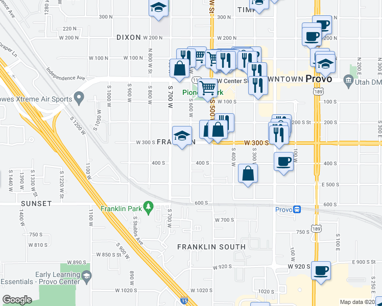 map of restaurants, bars, coffee shops, grocery stores, and more near 588 West 400 South in Provo