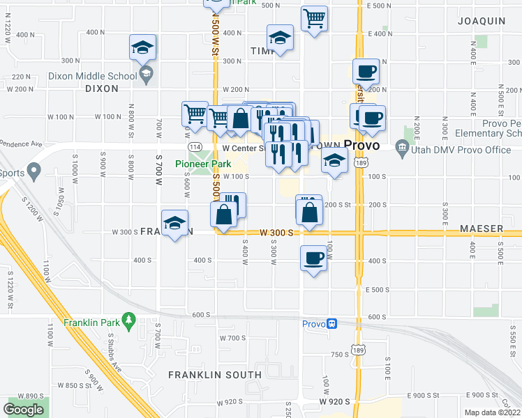 map of restaurants, bars, coffee shops, grocery stores, and more near 345 West 200 South in Provo