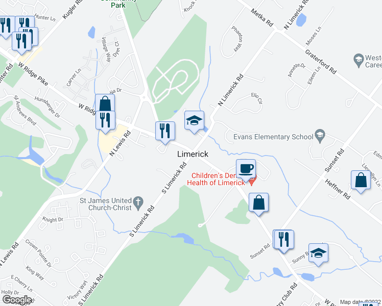 map of restaurants, bars, coffee shops, grocery stores, and more near 1-21 North Limerick Road in Royersford