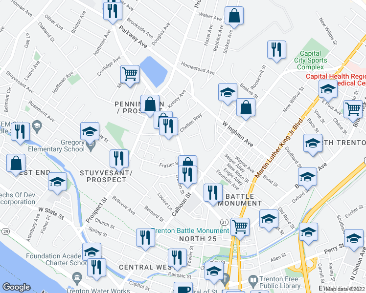 map of restaurants, bars, coffee shops, grocery stores, and more near 360 Pennington Avenue in Trenton