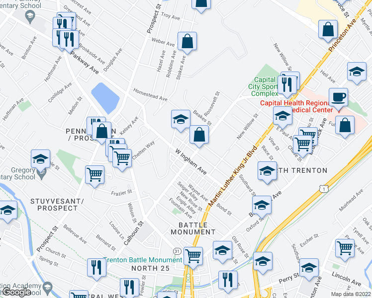 map of restaurants, bars, coffee shops, grocery stores, and more near 22 Trent Avenue in Ewing Township